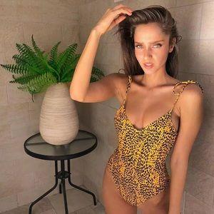 🆕Ozzie Yellow & Black Cheetah One Piece Swimsuit